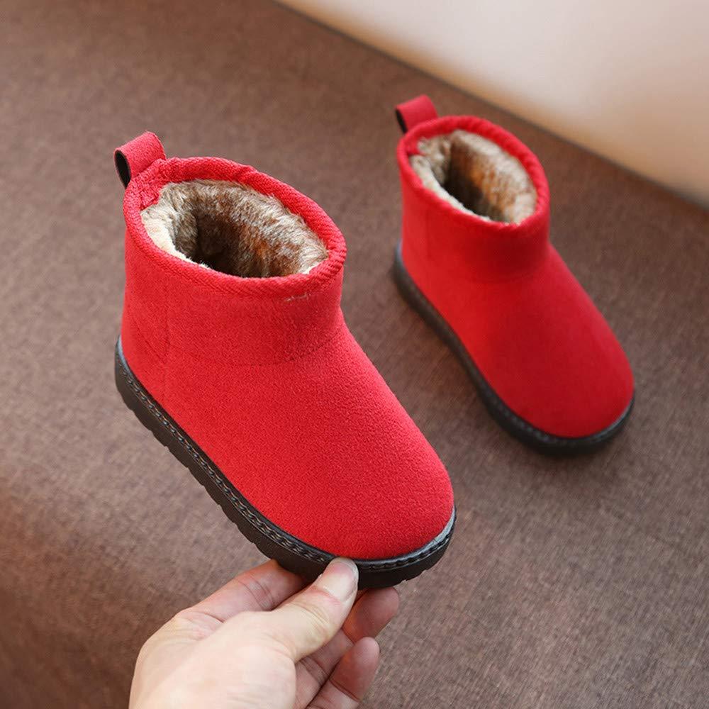 Baby Kids Child Snow Boots Cuekondy Boys Girls Plush Warm Anti-Slip Rubber Sole Winter Casual Shoes