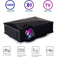 RabbitStorm Proyector, Negro, 2200 Lumens LCD Mini HD Projector Multimedia 1080P, Multimedia Home Theater Video Projector - Support 1080P HDMI USB SD Card VGA AV IR for Home Cinema TV Laptop Game iPhone Andriod Smartphone
