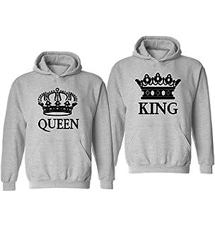 Tabiekacl King Queen Hoodie Sweatshirt Pullover D/ünn Paar Pullover f/ür Zwei Schwarz Partner Look P/ärchen Hoodie Set Fr/ühling Herbst Kapuzenpullover f/ür Paare