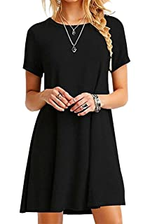 Women Rolled Short Sleeve Strip Tunic Tops Loose Mini Dress Plus Size T Shirt