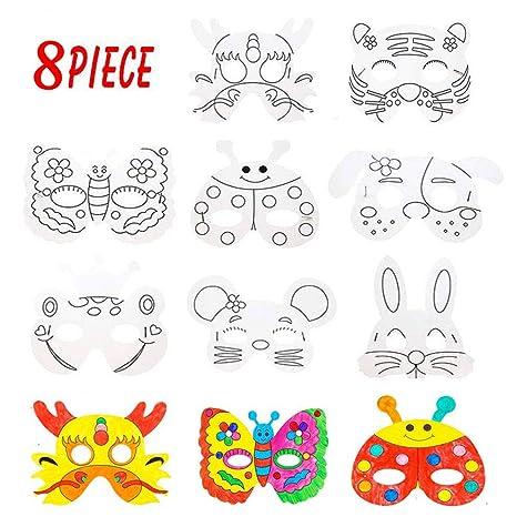 WELLXUNK LIZHIGE Máscaras Animales para Niños Colorear, Caretas Animales para Fiestas, Halloween, Navidad, Cosplay, Cumpleaños, Manualidades ...