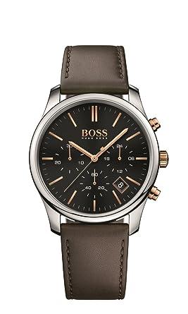 b67e0e59271 Hugo Boss Montre 1513448 cuir noir   marron analogique Quartz homme ...
