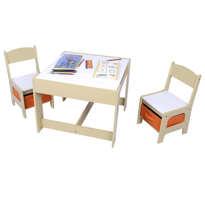 WOLTU SG002 3tlg. Kindersitzgruppe Kindertisch mit 2 Stühle Sitzgruppe mit Stauraum für Kinder Vorschüler Kindermöbel