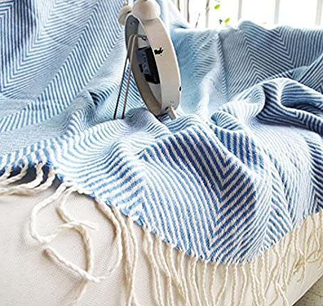 59x51 Inches Blue Battilo Chevron Herringbone Throw Blanket Reversible with Tassels for Couch Chair /& Sofa