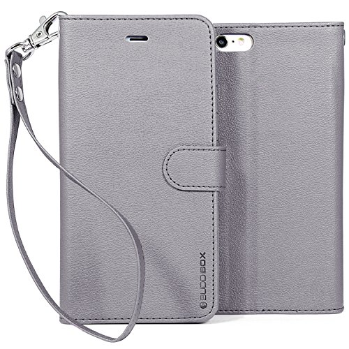 Iphone 6 Case  Buddibox  Wrist Strap  Premium Pu Leather Wallet Case With  Kickstand  Card Holder And Id Slot For Apple Iphone 6   Grey