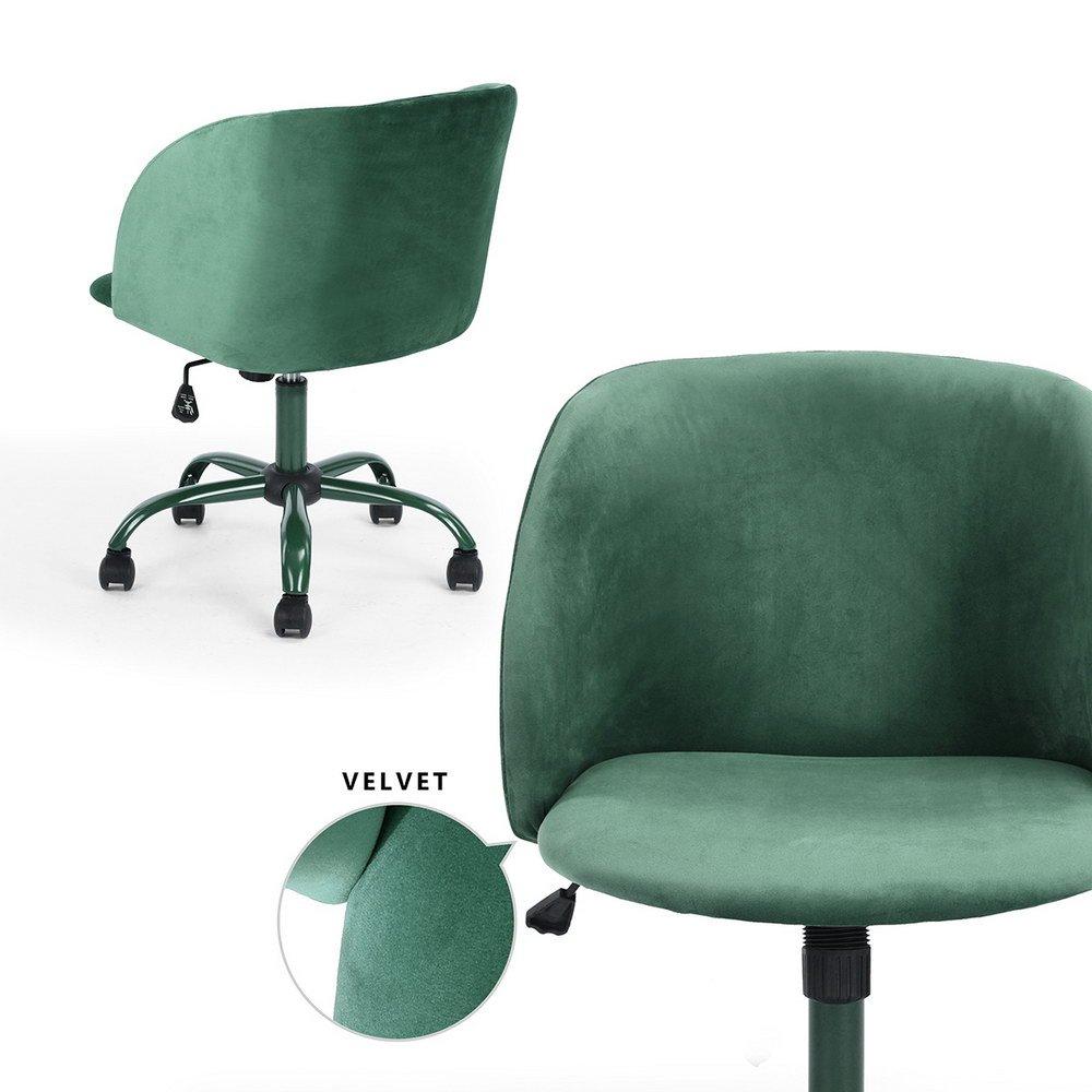 Ihouse mid back swivel computer desk chair ergonomic modern accent office task chair velvet seat armrest