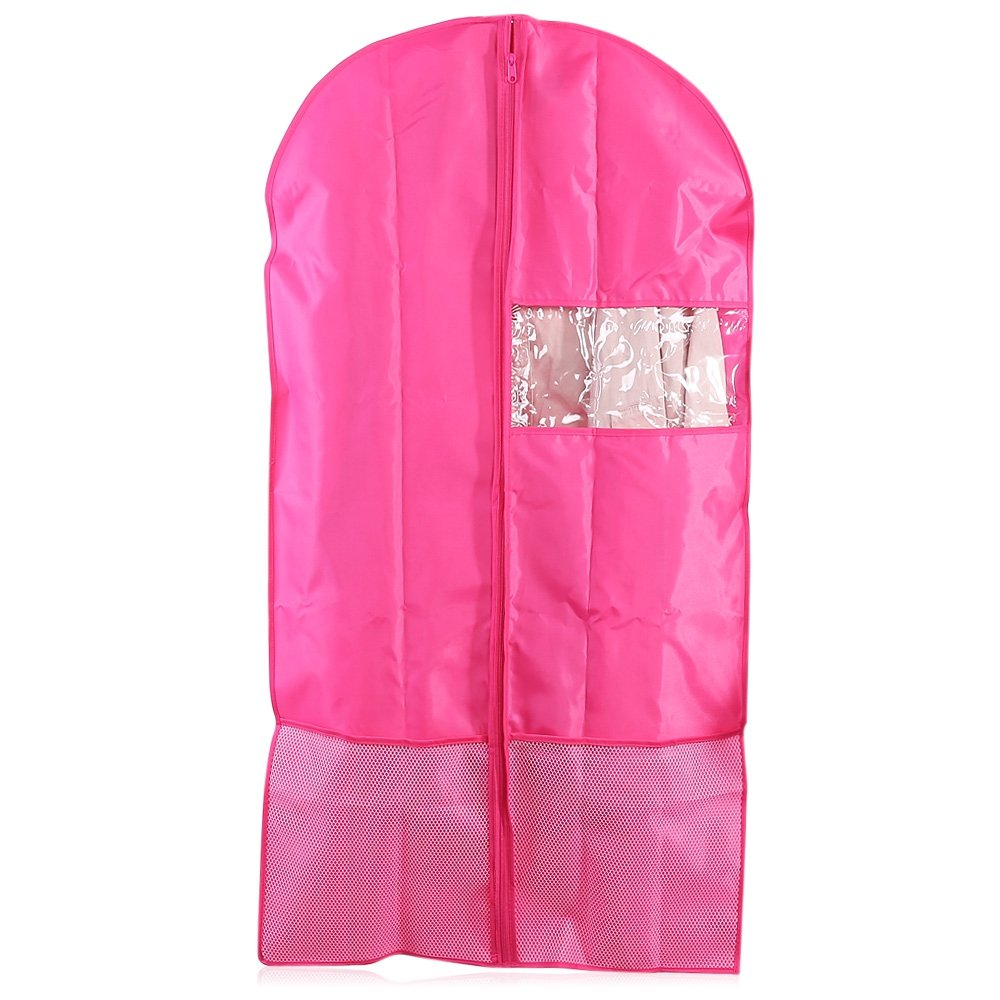 Oxford Breathable Garment Bags for Clothes Storage, Travel Foldable Hanging Garment Cover Case Dust-Proof Storage Bag Protector(Set of 2)(Pink)