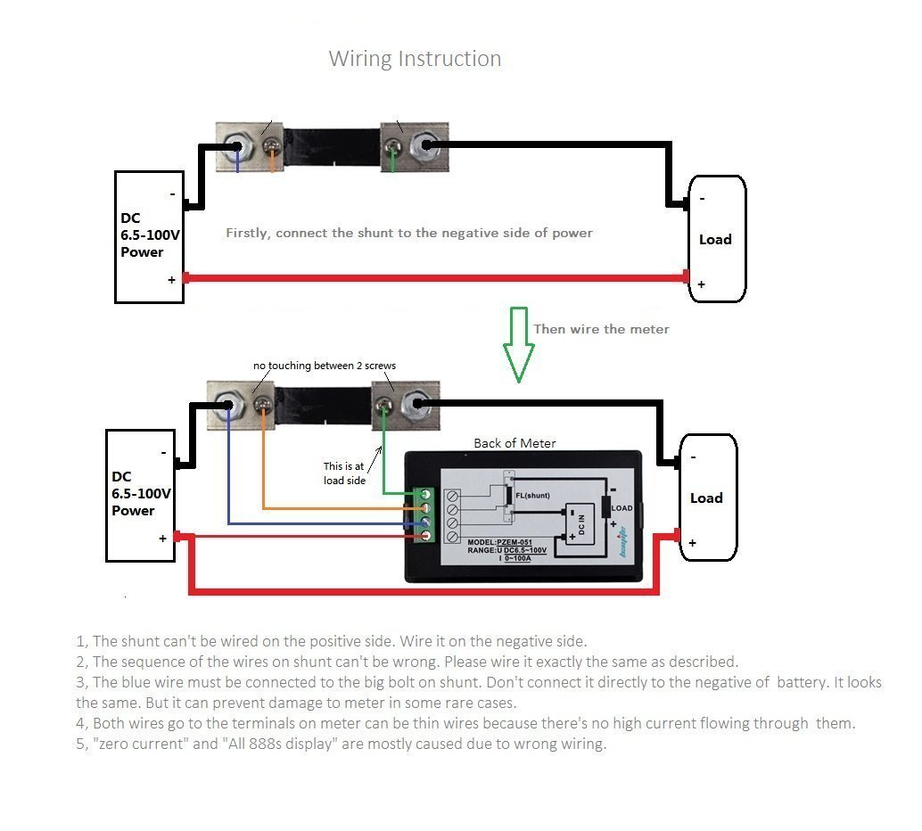 Bayite Meter Wiring Diagram For Solar Great Installation Of Electric Form Diagrams Amazon Com Dc 6 5 100v 0 50a Lcd Display Digital Current Voltage Rh Base Nissan N16meter