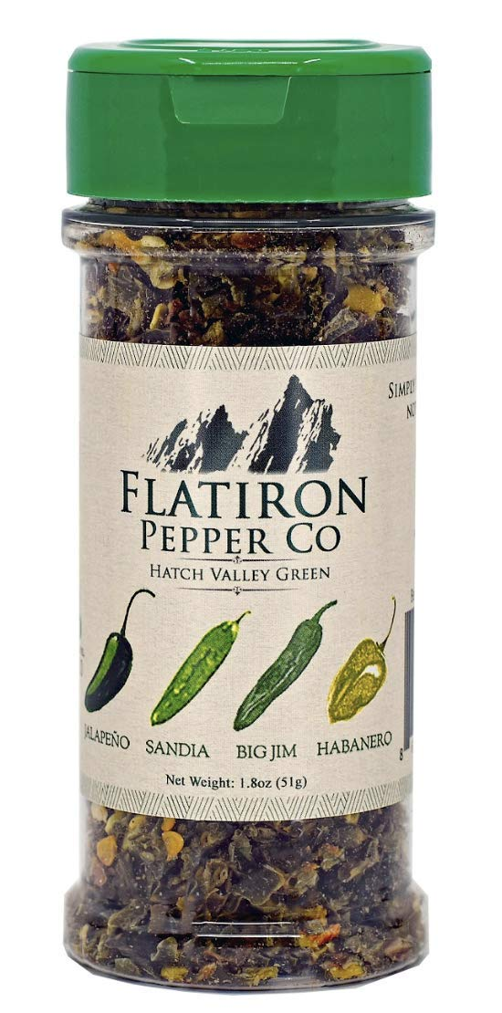 Flatiron Pepper Co - Hatch Valley Green. Premium Green Chile Flakes. Hatch Green Chile - Jalapeno - Habanero