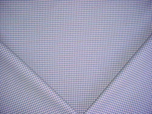 224H12 - Sky Blue / White Linen Houndstooth Designer Upholstery Drapery Fabric - By the Yard (Houndstooth Upholstery Fabric)