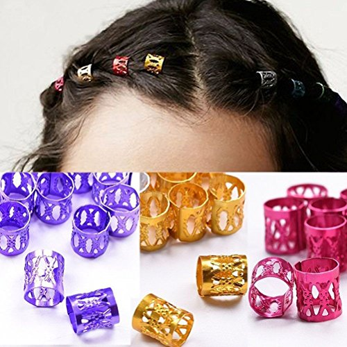 cuhair 50pcs Mini Colorful Bangs Hollow Bead Ponytail Holder Hair Clip Hair Accessories For Women Girl kids]()