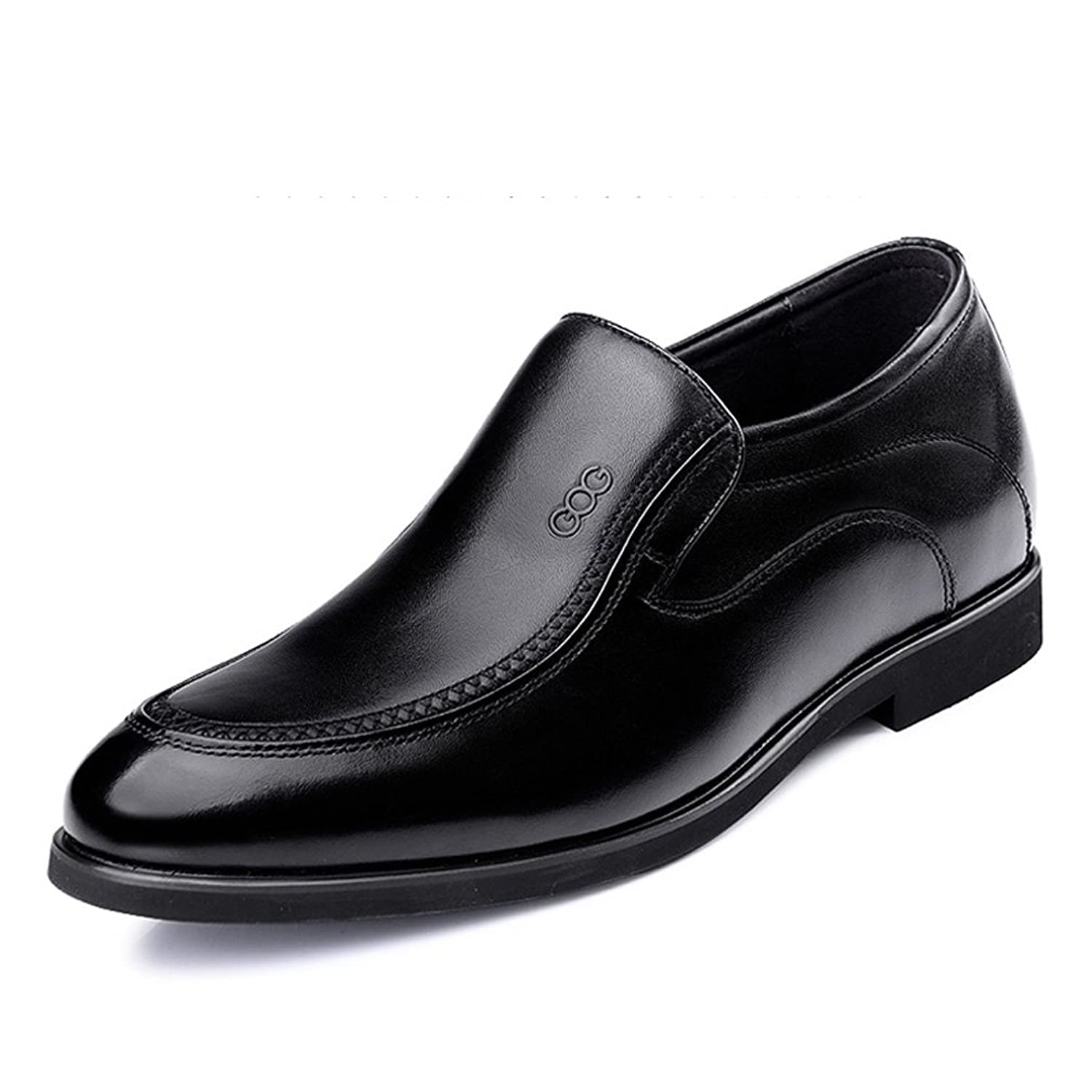 2.56 Inches Taller - Men's Height Increasing Elevator loafers-Black Genuine Leather Dress Wedding Shoes