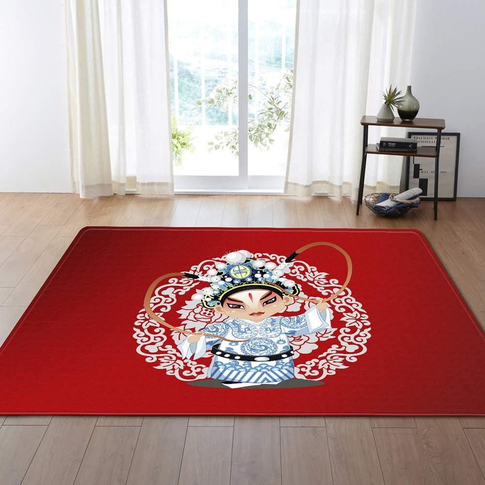 Red Rugs Chinese Classical Beijing Peking Opera Area Rugs for Indoor Floor Living Room Kitchen Bedroom Bathroom Non-Slip Carpet Healthy Carpets,D,80x50inch/6.6ftx4.1ft