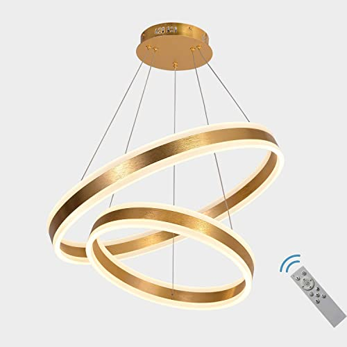 AKEELIGHTING Contemporary Led Chandeliers Gold Modern Pendant Lighting 2 Ring LED Dimmable Dining Room Lighting