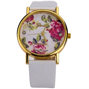 u beauty new fashion leather geneva rose flower dress watches for women white color - Color Watches