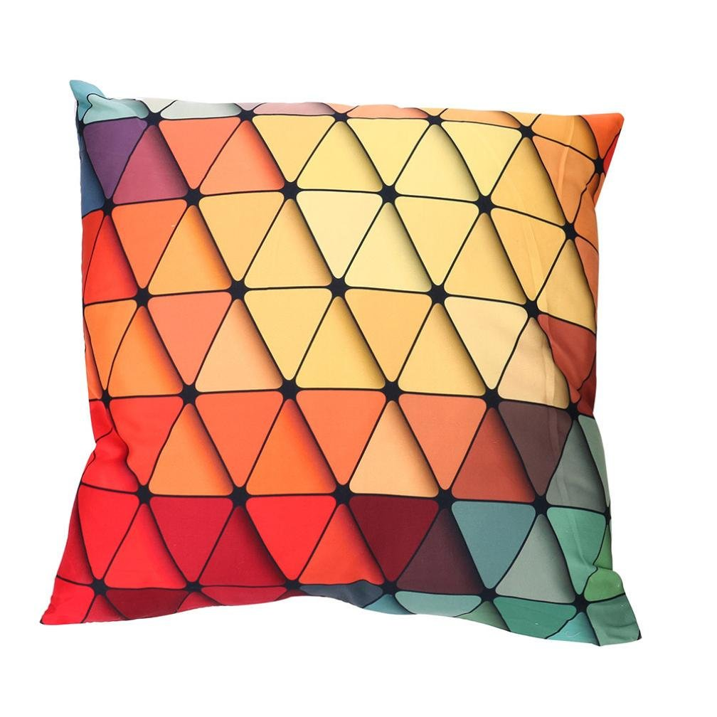 Viahwyt Super Cool Cushion Cover Couch 3D Rainbow Geometric Square Cushion Covers 45cm x 45cm Pillow Case For Sofa Car Restaurant Home Decor New Home Gifts Unique Design (A)