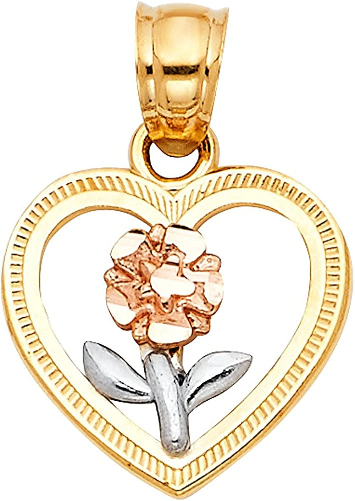 14K Tri Color Gold Flower in Heart Charm Pendant with 2.1mm Valentino Chain Necklace