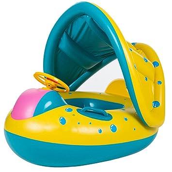 Clerfy Acc 6-18 Meses bebé Flotador de Seguridad bebé Niños Hinchable Natación Agua Flotador Anillo de Natación con toldo Ajustable Parasol, Parasol, ...