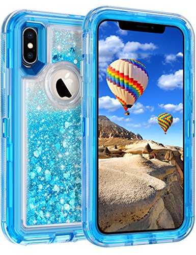 Coolden iPhone X Case, 3D Floating Glitter Case Sparkle Dual Layer Heavy Duty Quicksand Liquid Cover Clear Shockproof Bumper Anti-Drop PC Frame + TPU Back for Apple iPhone X /10 5.8(Blue)