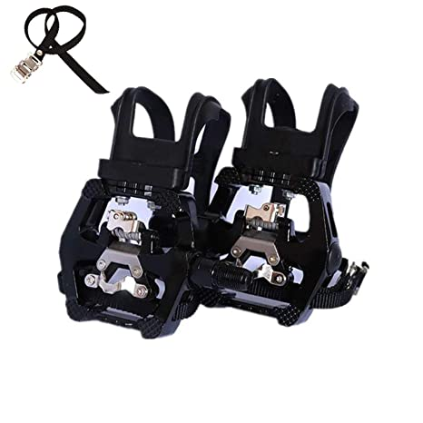 Bike Pedal Clips >> Namucuo Bike Spd Pedals Hybrid Pedal With Toe Clip And Straps Suitable For Indoor Exercise Bikes Spin Bike And All Bikes With 9 16 Axles Half