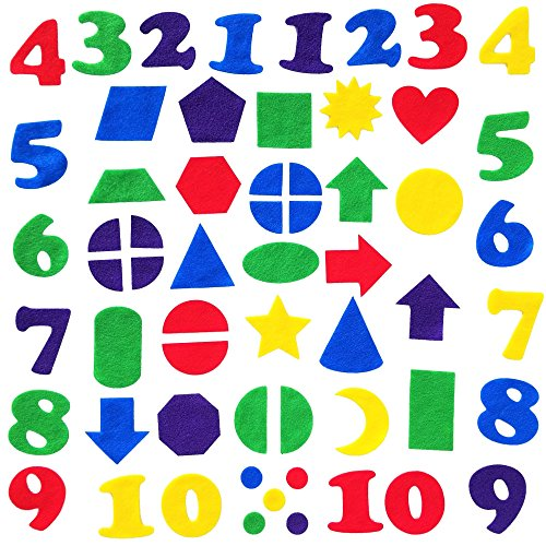 - Felt Numbers & Geometric Shapes 144 Piece Set for Felt Board Early Learning by Wildflower Toys