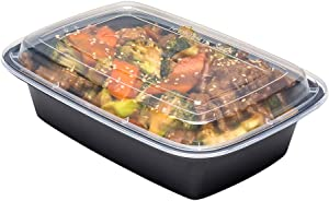Asporto Microwavable To-Go Container - BPA Free PP Rectangular Take Out Food Container with Clear Plastic Lid - Catering & Takeout - 38 oz - Black - Plastic - Disposable - 100ct Box - Restaurantware
