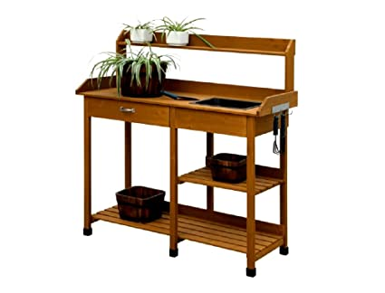 Potting Bench Cabinet Storage Light Oak Chinese Fir Wood Plastic Sink  Material Weather Resistant   Skroutz
