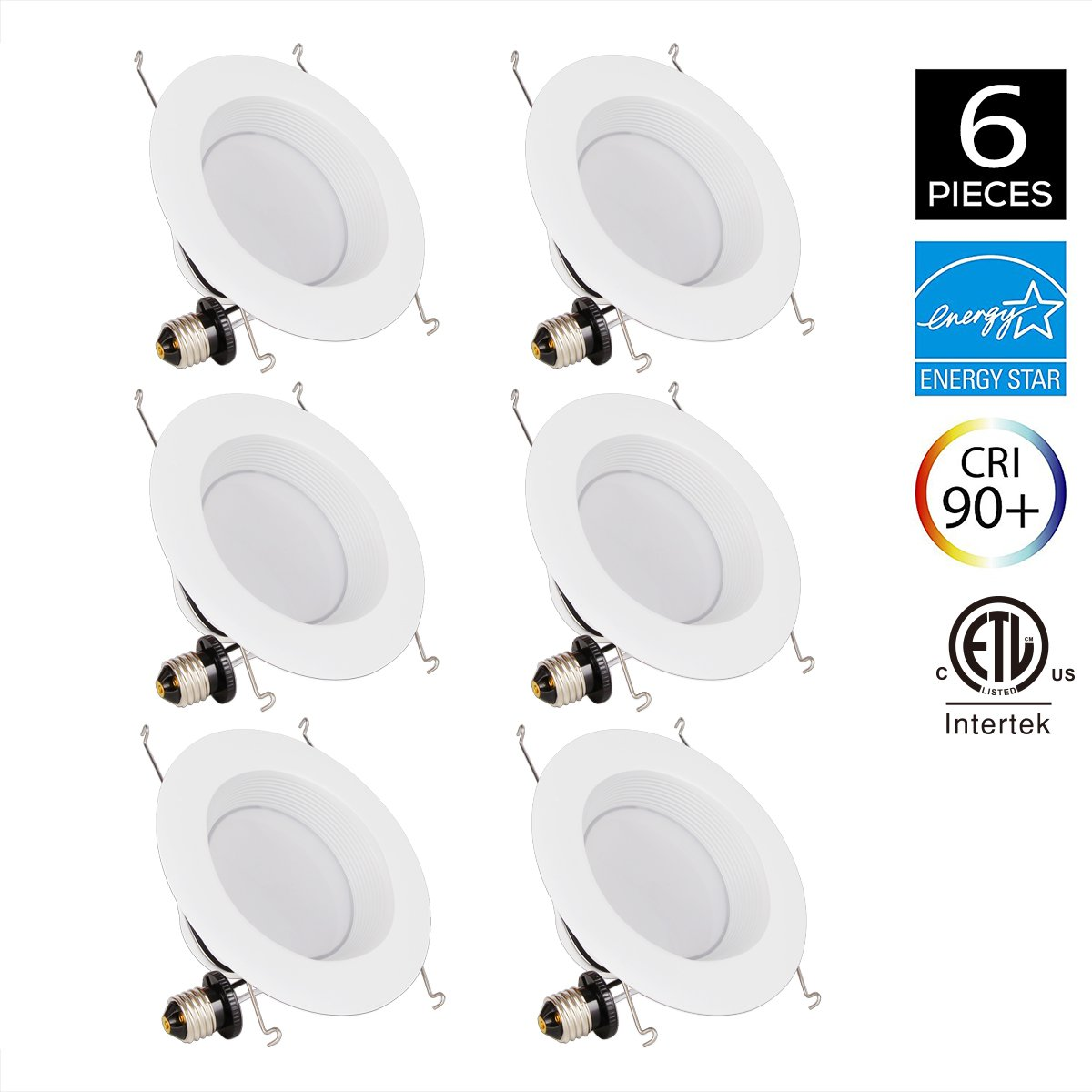 JJC 6Pack Recessed Lighting 6 Inch LED Dimmable Downlight Ceiling Lights 18W 3000K-Warm White 1260LM CRI 90 Energy Star Certified&ETL-Listed