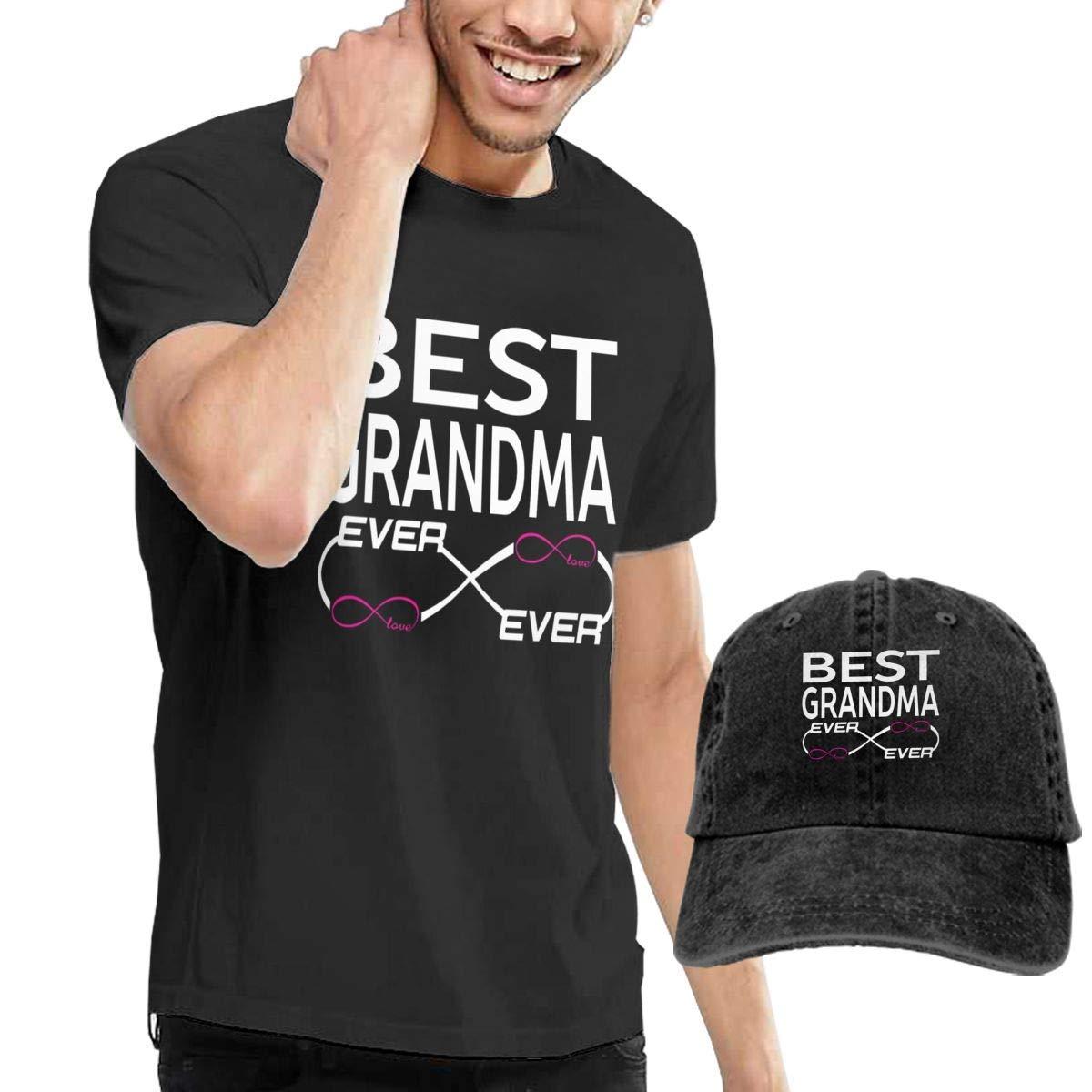 QQWBB Best Grandma Ever Tshirts Short Sleeve Denim Hat Men