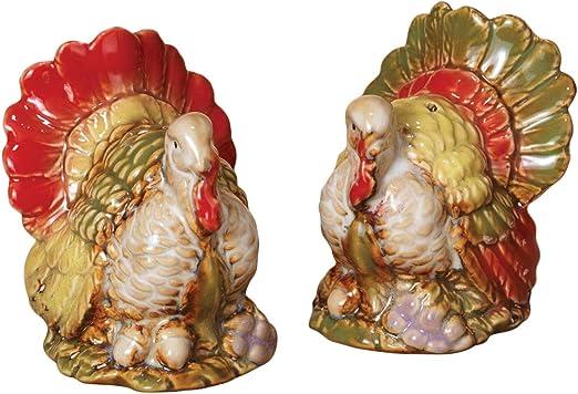 Ceramic Thanksgiving Condiment Set Turkey Salt /& Pepper Shaker