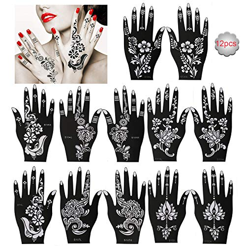 Konsait Pack Of 12 Sheets Henna Tattoo Stencil Templates Henna Hand Temporary Tattoo Kit, Indian Arabian Self Adhesive Tattoo Sticker for Hand Body Art Paint for Adults Women Teenager Girls