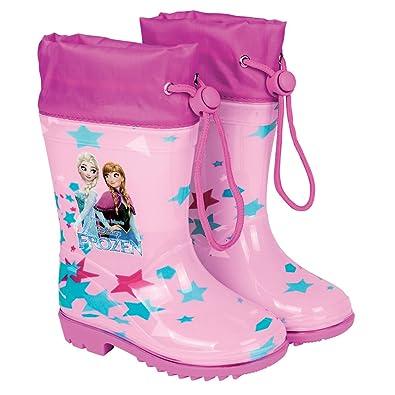Botas de Agua Disney Frozen Botines Impermeables para Niña con Suela Antideslizante y Cierre con cordón Estampado Anna y Elsa Rosa Perletti