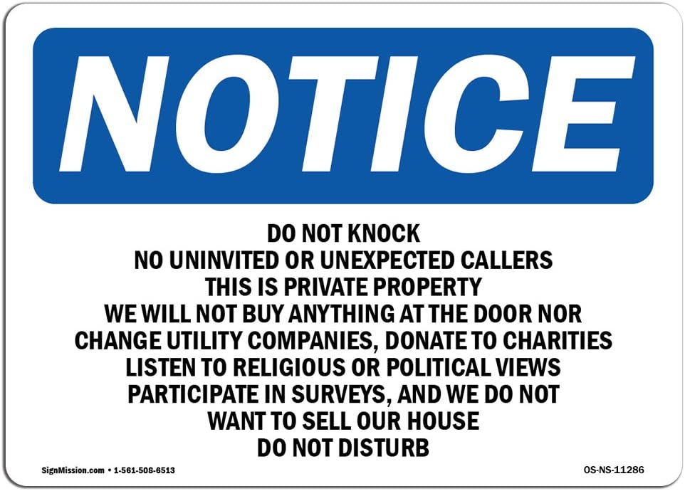 OSHA Notice Signs - Do Not Knock No Uninvited Or Unexpected Sign | Extremely Durable Made in The USA Signs Or Heavy Duty Vinyl Label | Protect Your Construction Site, Warehouse & Business
