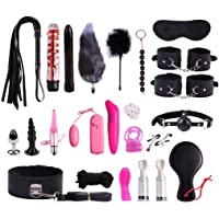 LQZYTY sunglasses 23PCS/Set Leather Handcuffs Tail BDSM Bondage Toy Flirt - Amal Plūg - Body Massage Tools - Massagers Adullt Sex Toys Set T-shirt (Color : Black)