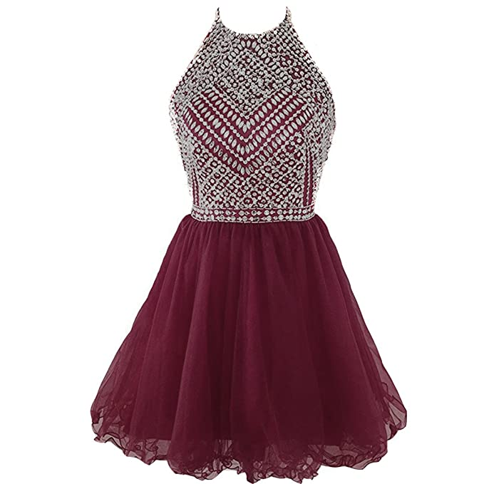 5268c5893c Kivary Sheer Beaded Halter Short Tulle Open Back Prom Evening Homecoming  Dress Burgundy US 2