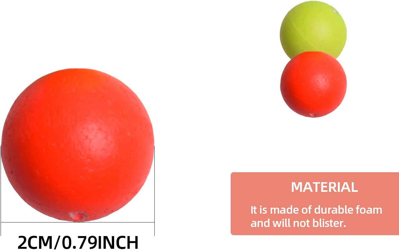 1 2 //Red -Round SF Strike Indicators Bobbers Fly Fishing with Wooden Tooth Pick Floating Foam Fishing Tackle Accessories Fluorescent yellow