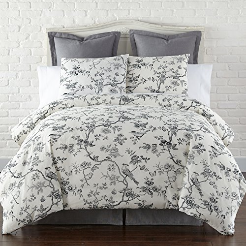 (Levtex Black Toile Queen Duvet Cover Set, Black, Toile)