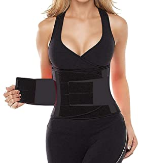 26446b9a11 SHAPERX Waist Trainer Belt Body Shaper Belly Wrap Trimmer Slimmer  Compression Band for Weight Loss Workout