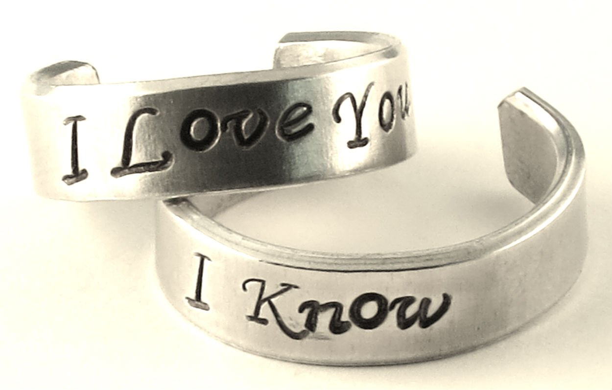 I Love You - I Know - A Pair of Han & Leia - Hand Stamped Rings by Hand Trades (Image #1)