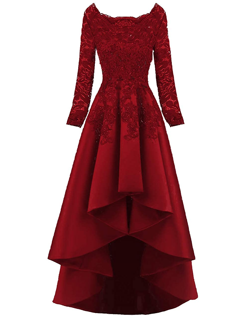 Burgundy PROMNOVAS Long Sleeves Appliques Prom Dresses Ruffles Evening Party Dresses