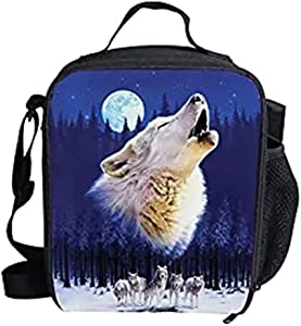 FUIBENG Thermal Insulated Lunch Bag Wild Wolf Kindergarten School Student Food Container