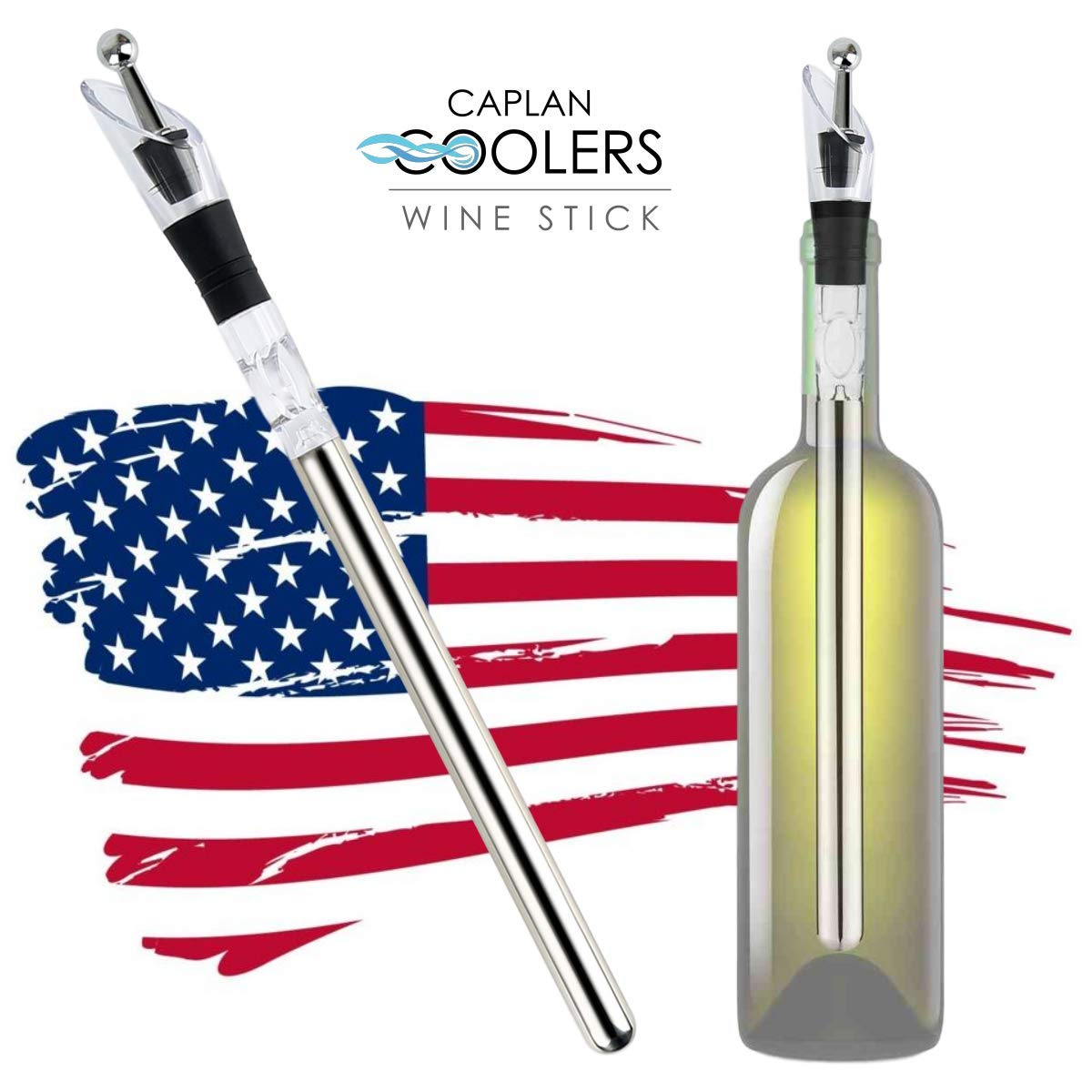 Caplan Coolers: Wine Bottle Chiller Cooling Stick (with Pourer, Aerator, and Bottle Stopper) by Caplan Coolers (Image #1)