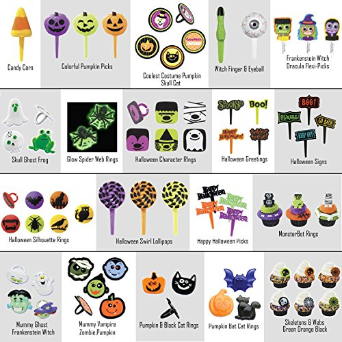 *FREE STANDARD SHIPPING - Halloween Cupcake Toppers - Pack of 24 - We Ship Within 1 Business Day! (Coolest Costume Pumpkin Skull Cat ()