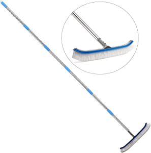 Swimming Pool Bursh, 6 FT Stainless Steel Heavy Duty Clean Swimming Pool Brush with Pole, Use for Swimming Pool Wall Tile Floor and Step