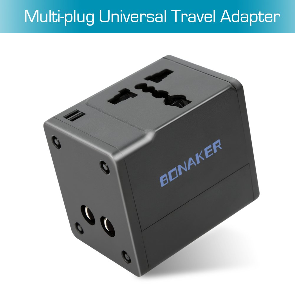Travel Adapter 2 USB Charging Worldwide All in One Universal Power Adapter AC Wall Outlet Plugs Built-in Spare Fuse International Power Adapter for US/UK/AU/Europe/Asia Black By BONAKER