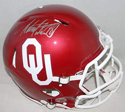 82c8f2ec4 Image Unavailable. Image not available for. Color  Adrian Peterson Autographed  Signed Ou Oklahoma Sooners Authentic Speed Helmet ...