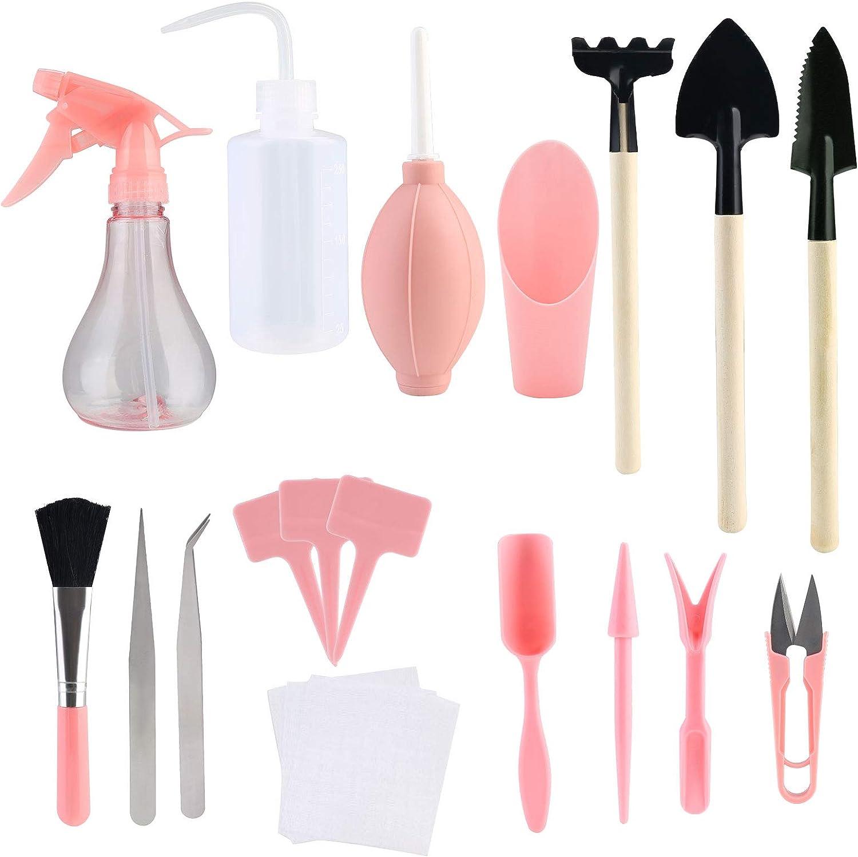 LQKYWNA 16pcs Succulent Transplanting Tool Mini Garden Hand Succulent Miniature Planting Set for Indoor Miniature Garden Plant Care (Pink)