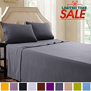 """SAKIAO Queen Size-Bed Sheets Set - Brushed Microfiber 1800 Bedding - 16"""" Deep Pocket Wrinkle Free & Fade Resistant - Sheet Set with 3-Line Embroidery - 4 Piece (Dark Grey,Queen)"""