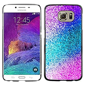 Design for Girls Plastic Cover Case FOR Samsung Galaxy S6 Teal Blue Glitter Pattern OBBA