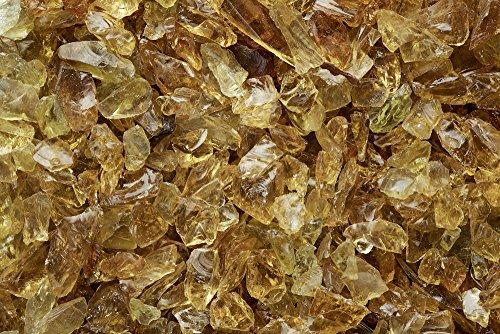 One Stop Outdoor Chestnut Amber Multi-Purpose Premium Decor & Fire Glass Rock 2-Pound 1/4